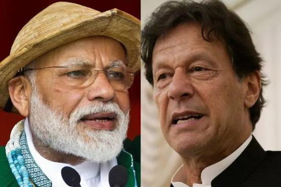 印度总统莫迪(左)巴基斯坦总理伊姆兰·汗(右)