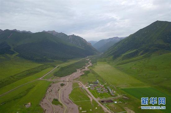这是中农发山丹马场有限责任公司一场景色(7月17日摄)。新华社记者 范培珅 摄