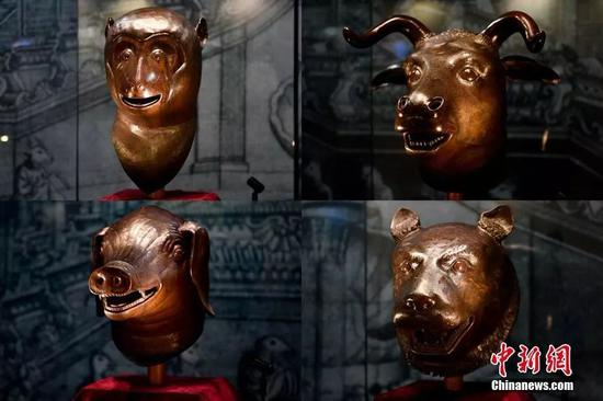 资料图:圆明园猴首、牛首、猪首、虎首。中新社记者 陈骥旻 摄
