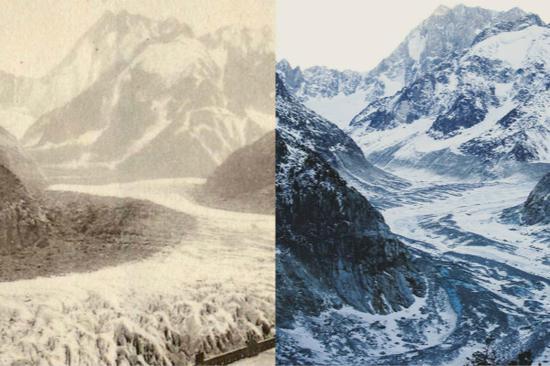 法官总统马克龙在推特上发布的勃朗峰冰川消融对比照片(图源:西班牙《国家报》)