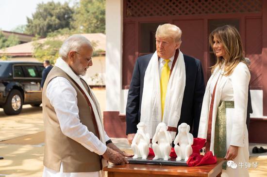 莫迪,你可真有两下子,印度送了特朗普一个三不猴