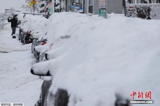 材料图:当地时间2019年3月4日,美国马萨诸塞州,当地遭遇暴风雪。
