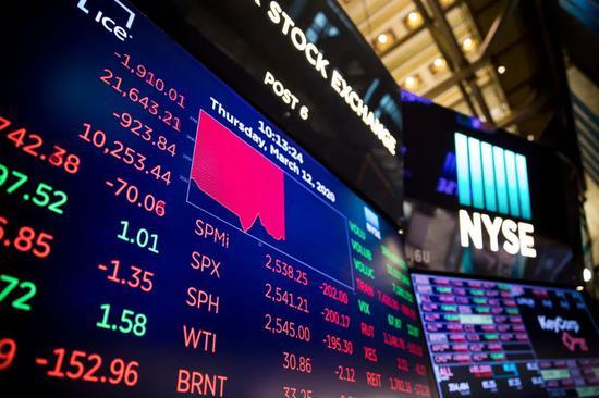 3月12日,美国纽约证券交易所的电子屏显示交易信息。新华社发