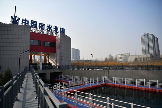 ↑南水北调中线天津外环河出口闸(2019年12月6日摄)。