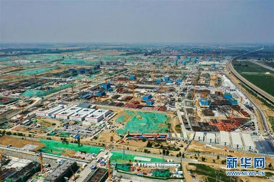 这是雄安新区容西片区建设现场(2021年7月3日摄,无人机照片)。 新华社记者 牟宇 摄