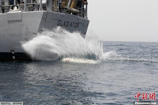 """资料图:美国海军第五舰队为主的41国海军在海湾水域举行联合军演。图为美国海军""""角斗士""""号参加演习。"""