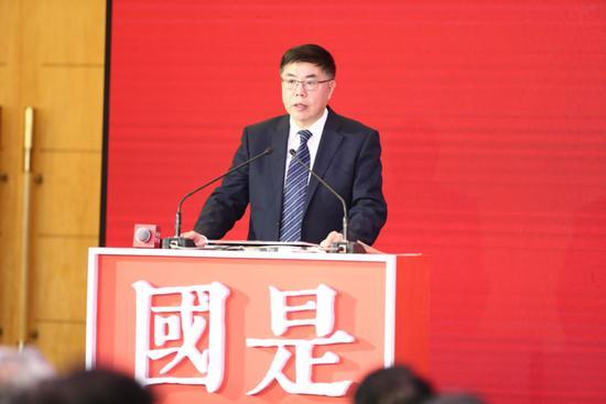 海关总署副署长邹志武在中新社主理的国是论坛2018年会上说话。盛佳鹏 摄