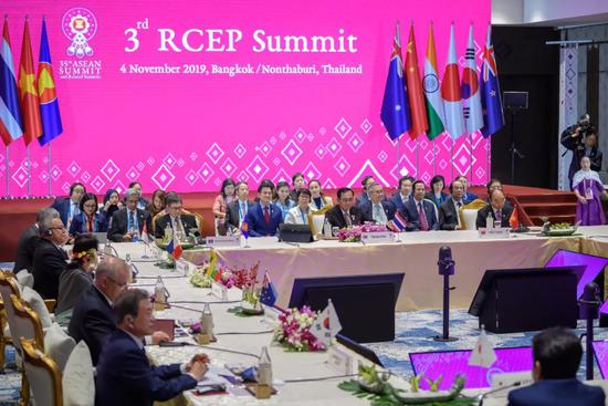 11月4日,第三次RCEP领导人会议在泰国曼谷举行(图源:新华社)