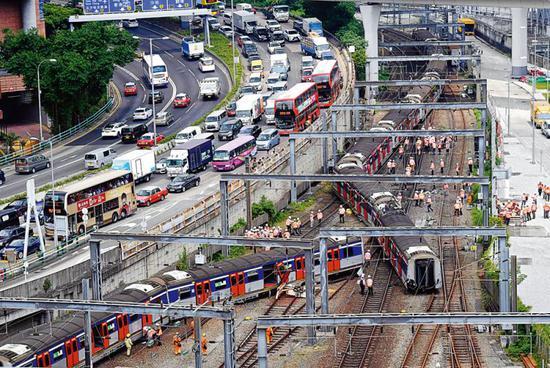 图为港铁东铁线发生事故(来源:文汇网)