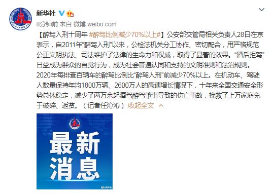 萍乡法治网公安部交管局:醉驾入刑十周年 醉驾比例减少70%以上