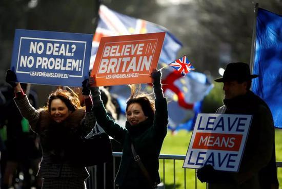 """1月8日,""""脱欧""""的支持者在英国伦敦议会大厦外示威。新华社/路透"""