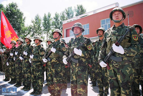 1999年,预备役部队换发林地迷彩作训服。