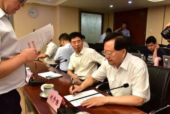 △时任临汾市长刘予强在环境部约谈现场