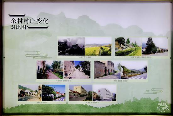 △透过这些对比照片,能清晰看到余村走出了一条绿色发展之路。(总台央视记者王晓东拍摄)