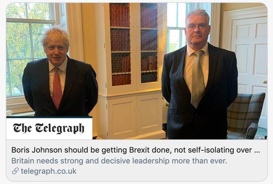 英国《电讯报》:约翰逊答该完善脱欧,而不是由于他感染过的新冠再次自吾阻隔。