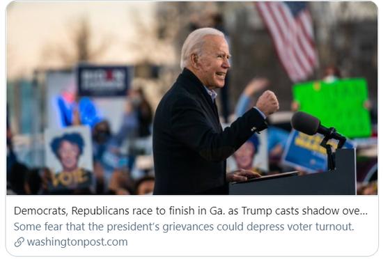 民主党和共和党在决选中势均力敌。/《华盛顿邮报》报道截图