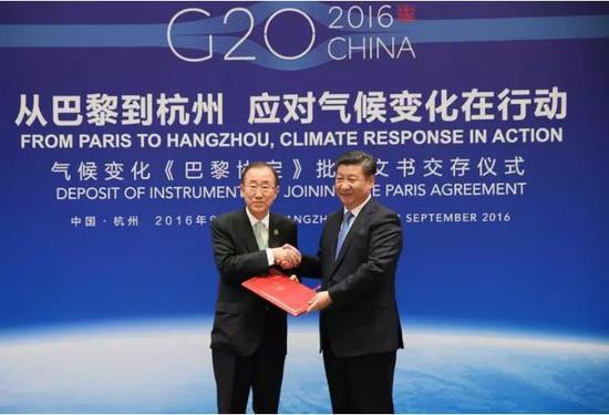 △2016年,习近平向潘基文交存中国气候变化《巴黎协定》批准文书。