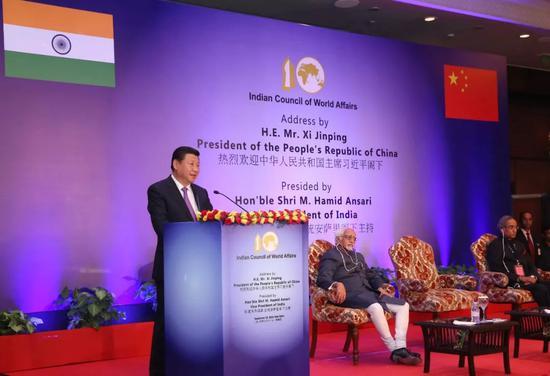 2014年9月18日,国家主席习近平在印度世界事务委员会发表题为《携手追寻民族复兴之梦》的重要演讲。新华社记者庞兴雷摄