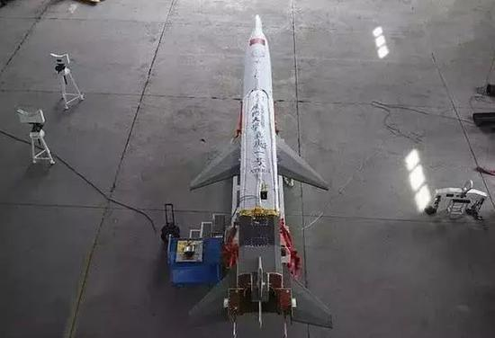 """▲厦门大学的""""嘉庚一号""""火箭头部载荷是一款新式高超音速飞行器""""天行一号"""""""