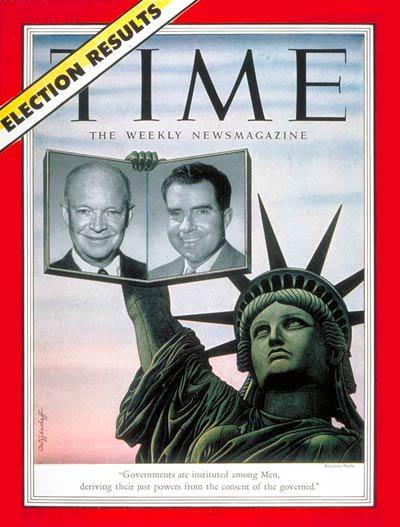 1952年总统大选后,《时代周刊》封面上是大选的赢家艾森豪威尔和尼克松。