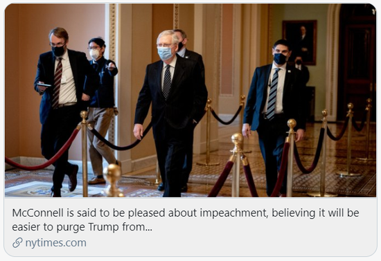 """知情人士称麦康奈尔对弹劾""""感到高兴""""。/《纽约时报》报道截图"""