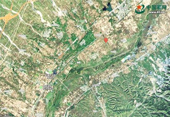 阳明堡地区卫星地图,红1处为阳明堡机场遗址,其东南方的滹沱河亦可辨认。