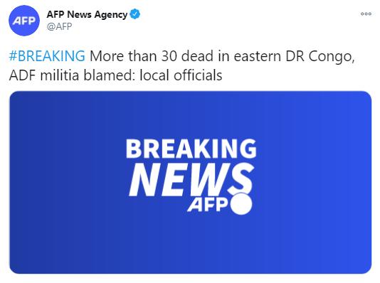刚果(金)东部遭武装分子袭击 超30人死亡