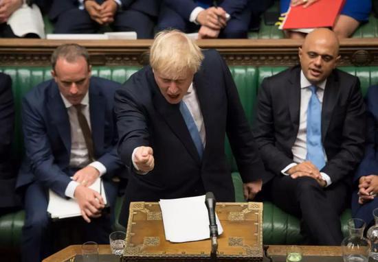 """7月25日,英国首相约翰逊在议会下院发表讲话,阐释""""脱欧""""政策主张。"""