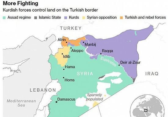 紫色为库尔德限制区,绿色为叙当局限制区,深黄色为亲土耳其武装限制区。图片来源:彭博社