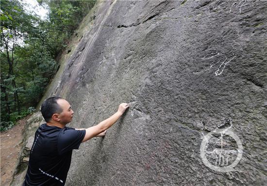 攀岩爱好者景随心在重庆歌乐山发现了这片卡岩塔足迹化石