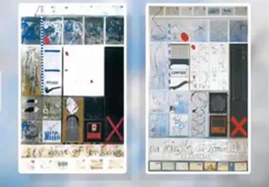 图左为叶永青作品《环保日》1995年创作;图右为西尔万作品1989年创作(图片来源:比利时RTBF电视台视频截图)