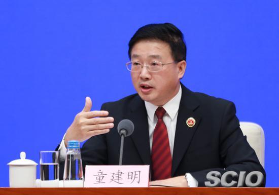 最高人民检察院副检察长、二级大检察官童建明(张馨 摄)