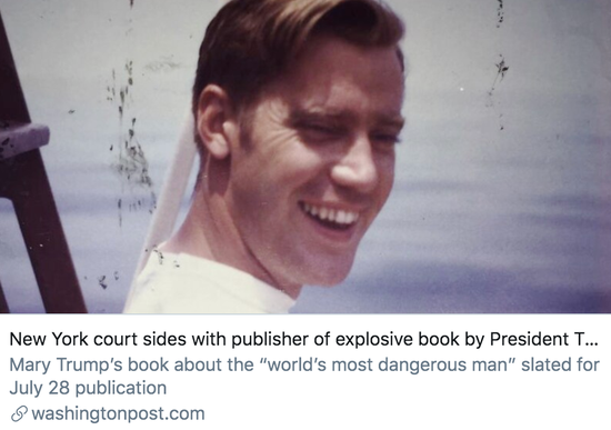 纽约州法院声援特朗普侄女的新书出版商。/ 《华盛顿邮报》报道截图