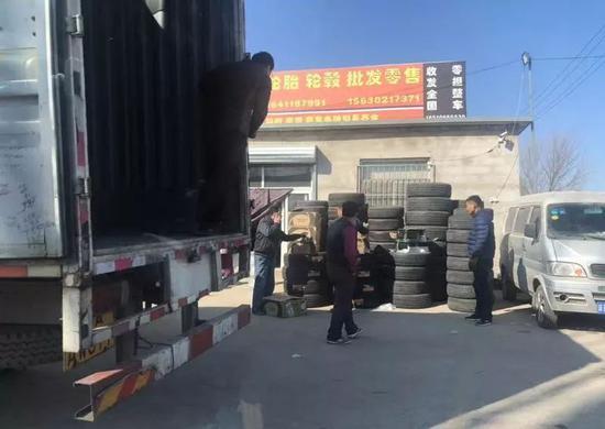 """▷涿州境内路边""""美容轮胎""""批发、零售店"""