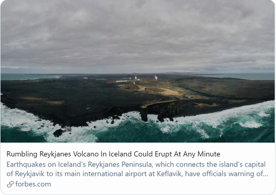 雷克雅内斯半岛火山随时可能爆发。/美国福布斯网站报道截图