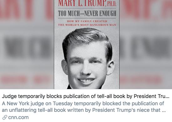 法官一时不准特朗普侄女出版新书。/ CNN报道截图