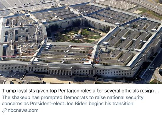 美国国防部长埃斯珀被解雇后,几名高官相继离职,特朗普支持者担任了五角大楼高级职位。/美国全国广播公司报道截图
