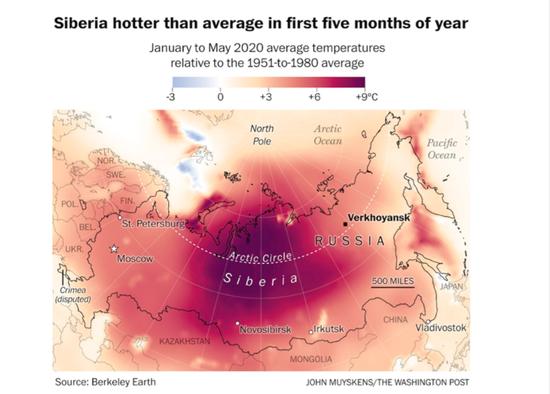 2020年前5个月西伯利亚的高温图据《华盛顿邮报》