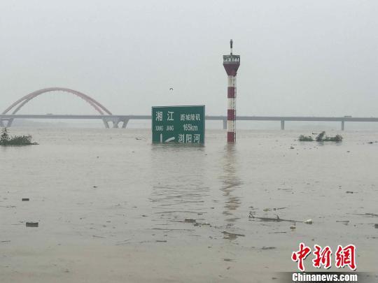 受洪水影响,湘江长沙段正以每小时0.15米的速度上涨。 徐志雄 摄