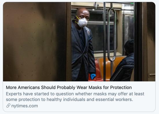 """""""更多美国人应佩戴口罩""""。/《纽约时报》报道截图"""