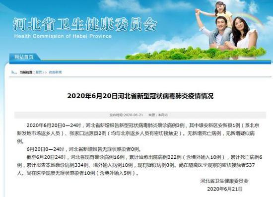 河北省卫健委官网截图