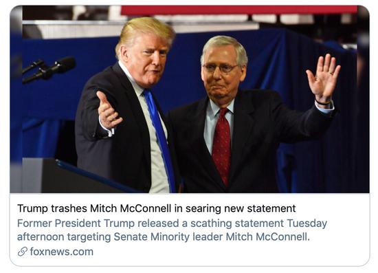 特朗普猛烈抨击麦康奈尔。/福克斯新闻报道截图