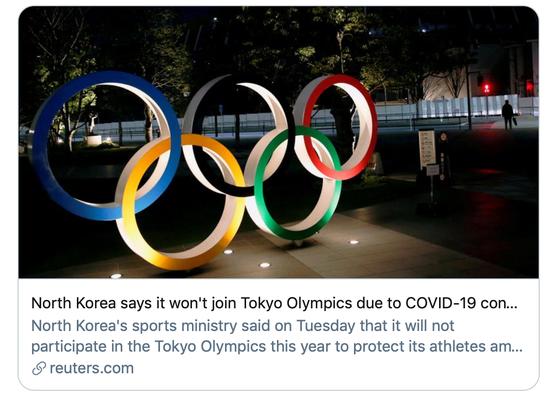 朝鲜宣布不参加东京奥运会。/路透社报道截图