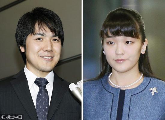 日本真子公主与其单身夫小室圭。(视觉中国)