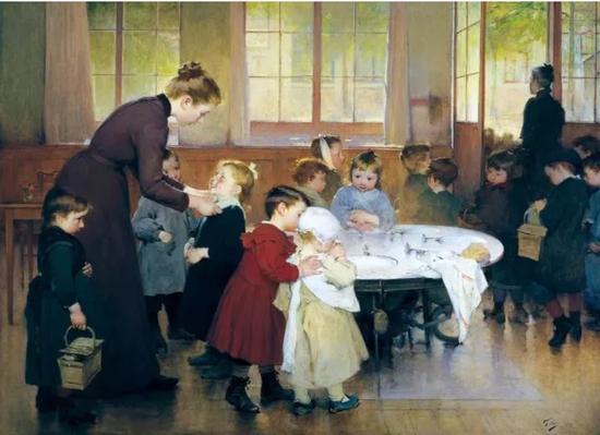 《小儿园》,法国画家让·乔弗里(JeanGeoffroy),1898年