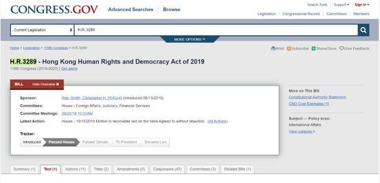 美国众议院官网《香港人权与民主法案》页面