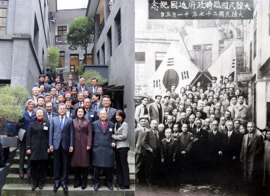 图为文在寅访问重庆的大韩民国一时当局旧址。(《韩民族日报》)