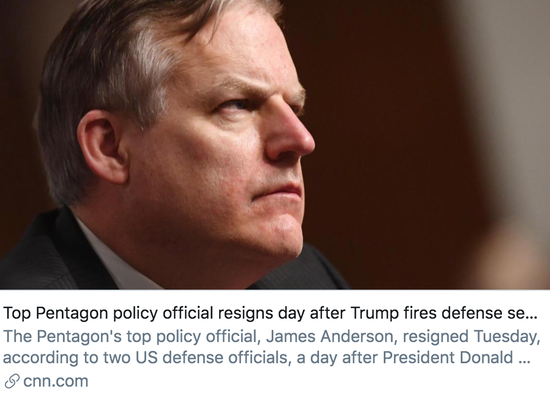 特朗普解雇国防部长埃斯帕后,五角大楼多名高官相继离职。/ CNN报道截图