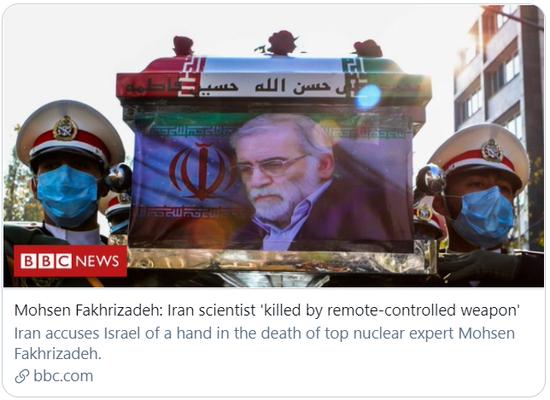 伊朗核科学家法克里扎德被远程操控武器杀害。/BBC报道截图