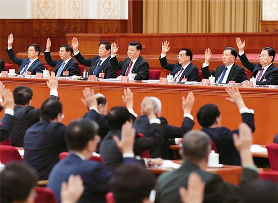 中国共产党第十九届中央委员会第四次全体会议,于2019年10月28日至31日在北京举行。这是习近平、李克强、栗战书、汪洋、王沪宁、赵乐际、韩正等在主席台上。 新华社记者 申宏/摄